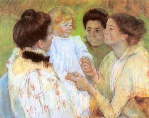 Art Prints of Women Admiring a Child by Mary Cassatt