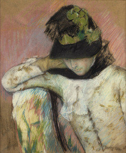 Art Prints of Young Woman in a Black and Green Bonnet Looking Down by Mary Cassatt