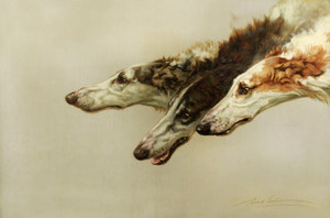 Art Prints of Borzoi Heads by Maud Earl