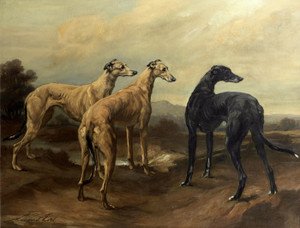 Art Prints of Greyhounds in a Landscape by Maud Earl
