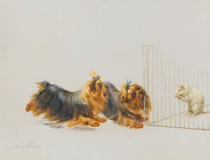 Art Prints of Terriers Playing with a Rat by Maud Earl