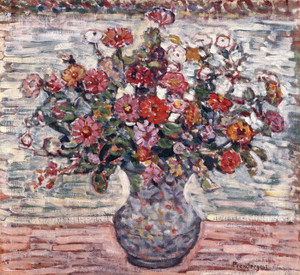 Art Prints of Flowers in a Vase Zinnias by Maurice Prendergast