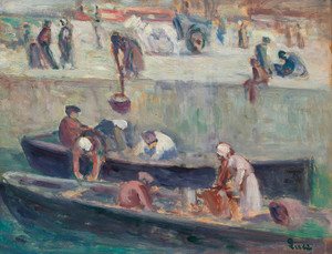 Art Prints of Washerwomen on the Seine by Maximilien Luce