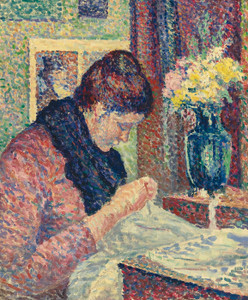 Art Prints of Woman Sewing by Maximilien Luce