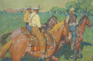 Art Prints of Home Pastures, Three Cowboys by Maynard Dixon