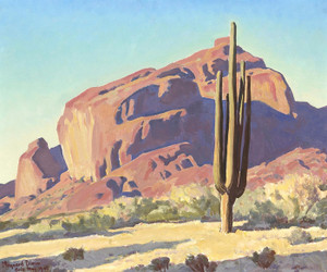 Art Prints of Red Rocks and Cactus by Maynard Dixon