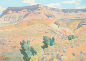 Art Prints of Ditch Line and Mesa Toquerville by Maynard Dixon