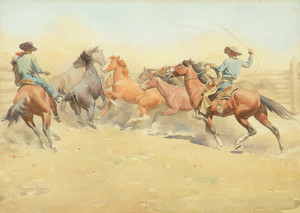 Art Prints of Roping Horses by Maynard Dixon