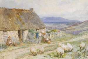 Art Prints of A Cottage near Ballater, Scotland by Myles Birket Foster