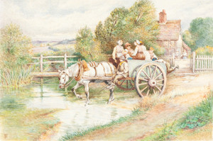 Art Prints of Children in a Cart by Myles Birket Foster
