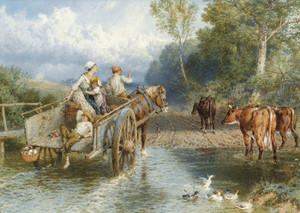 Art Prints of Returning from Market by Myles Birket Foster
