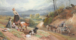 Art Prints of The Road to Market by Myles Birket Foster