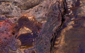 Art Prints of Sedimentary Rock Layers on a Crater Floor by NASA