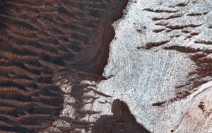 Art Prints of Water Bearing Rocks in Noctis Labyrinthus by NASA