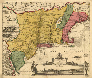 Art Prints of Map of New Netherland and New England by Nicolaes Visscher