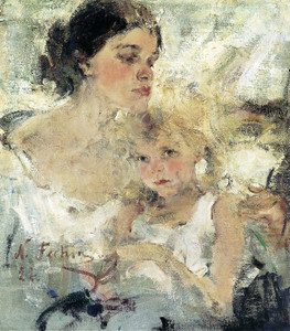 Art Prints of Mrs. Fechin and Her Daughter Eya by Nicolai Fechin