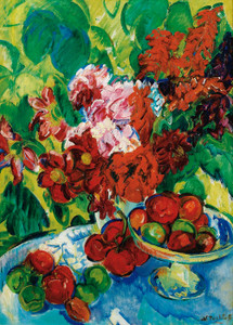 Art Prints of Still Life with Fruit and Flowers by Nikolai Aleksandrovich Tarkhov