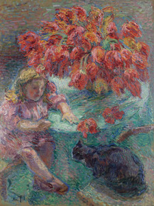 Art Prints of Young Girl with Cat by Nikolai Aleksandrovich Tarkhov