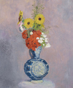 Art Prints of Bouquet of Flowers in a Blue Vase by Odilon Redon