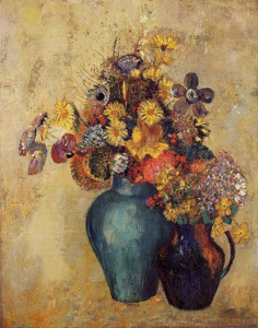 Art Prints of Flowers, Two Vases by Odilon Redon