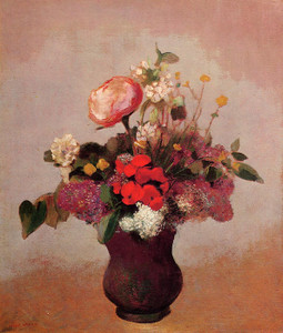 Art Prints of Flowers in a Brown Vase by Odilon Redon