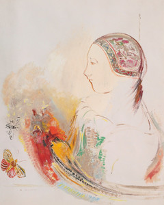 Art Prints of Profile of a Woman or Child with a Bird of Paradise by Odilon Redon