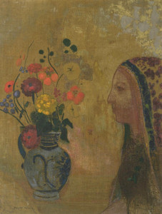 Art Prints of Profile of a Woman with a Vase of Flowers by Odilon Redon