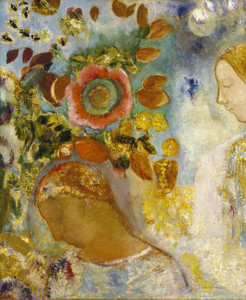 Art Prints of Two Young Girls Among Flowers by Odilon Redon