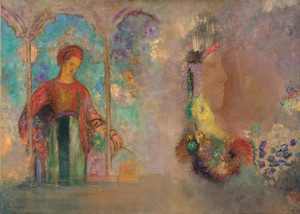 Art Prints of Woman in a Gothic Arcade or Woman with Flowers by Odilon Redon