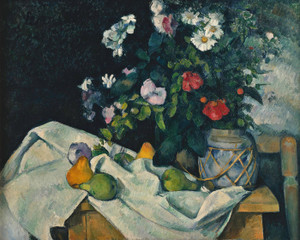 Art Prints of Still Life with Fruit and Flowers by Paul Cezanne