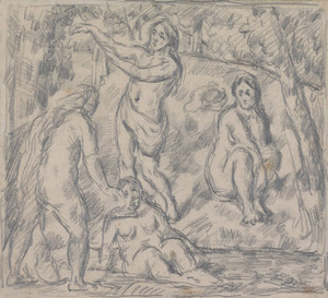 Art Prints of Study of Four Woman Bathing by Paul Cezanne