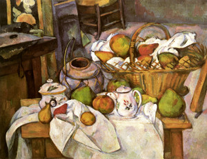 Art Prints of The Kitchen Table, Still Life with fruit Basket by Paul Cezanne