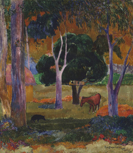 Art Prints of Landscape with a Pig and a Horse (Hiva Oa) by Paul Gauguin