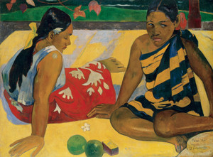 Art Prints of Parau Api (What News) by Paul Gauguin