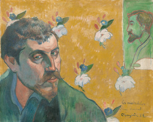 Art Prints of Self Portrait with Portrait of Bernard by Paul Gauguin