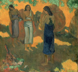 Art Prints of Three Tahitian Women against a Yellow Background by Paul Gauguin