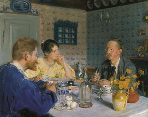 Art Prints of A Luncheon, the Artist's Wife and Otto Benzon by Peder Severin Kroyer