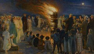 Art Prints of Midsummer Eve Bonfire on Skagen's Beach by Peder Severin Kroyer