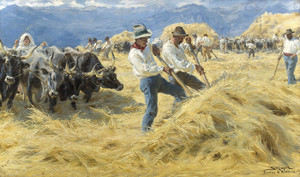 Art Prints of Threshing in Abruzzo by Peder Severin Kroyer