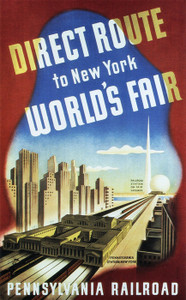 Art Prints of Direct Route to New York World's Fair, 1939, Pennsylvania Railroad