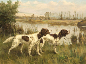 Art Prints of Two Setters by a River by Percival Leonard Rosseau