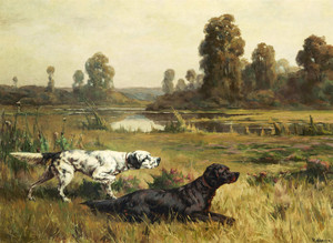 Art Prints of Gordon and English Setter in a Field by Percival Leonard Rosseau