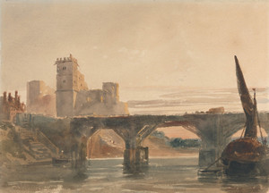Art Prints of Chepstow Castle from the Bridge by Peter De Wint