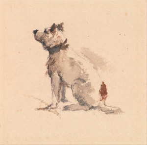 Art Prints of A Terrier Sitting Facing Left by Peter De Wint
