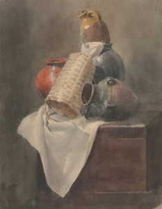 Art Prints of Still Life, Pots, Basket and Cloth on a Chest by Peter De Wint