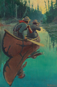 Art Prints of Hunters in a Canoe by Philip Goodwin