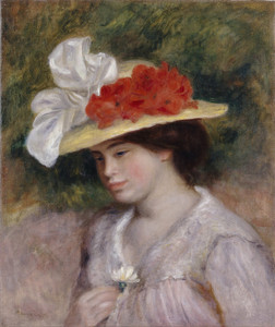 Art Prints of Woman in a Flowered Hat by Pierre-Auguste Renoir