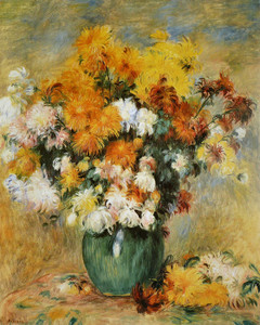 Art Prints of Vase of Chrysanthemums by Pierre-Auguste Renoir