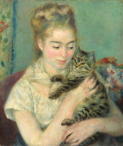 Art Prints of Woman with a Cat by Pierre-Auguste Renoir