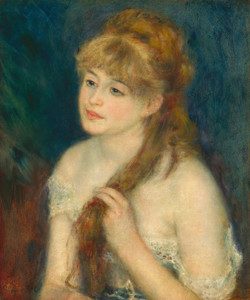 Art Prints of Young Woman Braiding Her Hair by Pierre-Auguste Renoir